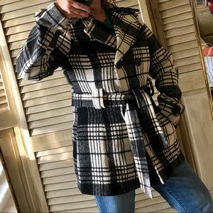 Jou Jou plaid double breasted coat size M